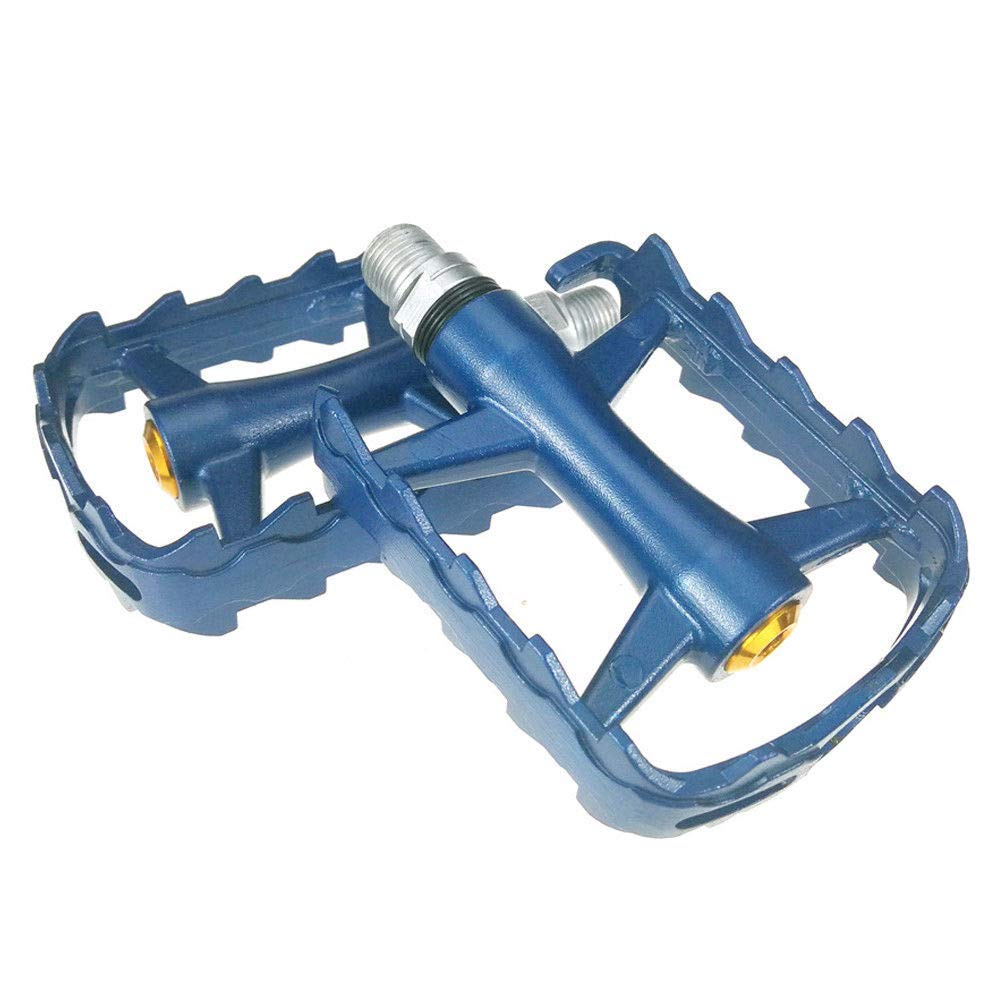 Luxurious Store Blue Road Mountain Bike Platform Pedals Flat MTB Pedals Aluminium Sealed Bearing 9/16