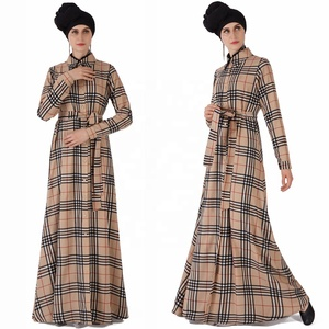 2019 new design islamic women abaya with shirt cuffs and belt front button open checkered pattern