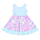 Summer cool children clothes stripe dolphin printed baby girls dress twirl sleeveless frocks design
