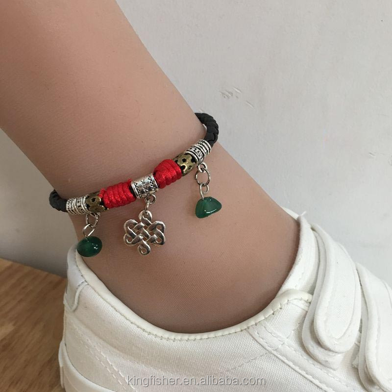 Vintage tibetan silver chinese knot and natural jade pendant leather braided hotwife anklet wholesale
