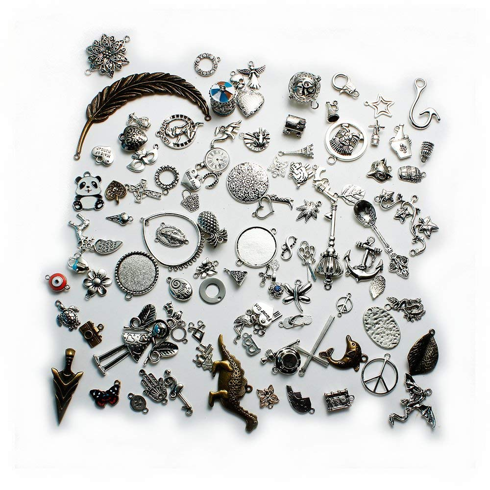 Sexy Sparkles 100 Mixed Antique Bronze Silver Tone Charms Assorted Mix Tibetan Charms Pendants