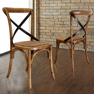 Wholesale Customize Dining Room Rattan Seat Vintage Birch Oak Stackable Wedding Solid Wooden X Cross Back Dining Chair