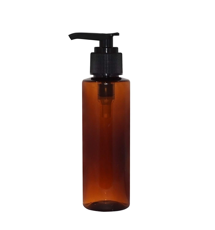 WM (Pack of 4) 4 oz Amber Refillable, Reusable Empty Plastic Bottles w/Lotion Pump Cap – Mfg. USA DIY, Oils, Aromatherapy, Shampoo, Paint, Soap, Perfume, Moisturizer, Arts & Crafts, Juice