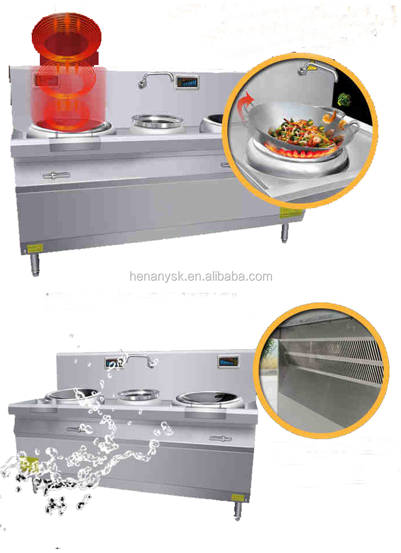 12kw Heavy Duty SS 2 Burner Double Magnetic large Commercial restaurant Induction Cooker round Wok Burner Range