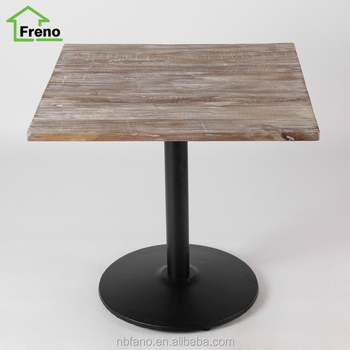 Fn 1000 restaurant hotel industrial wood metal square for Square industrial dining table