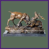 Outdoor Metal Cast Bronze Deer Sculptures