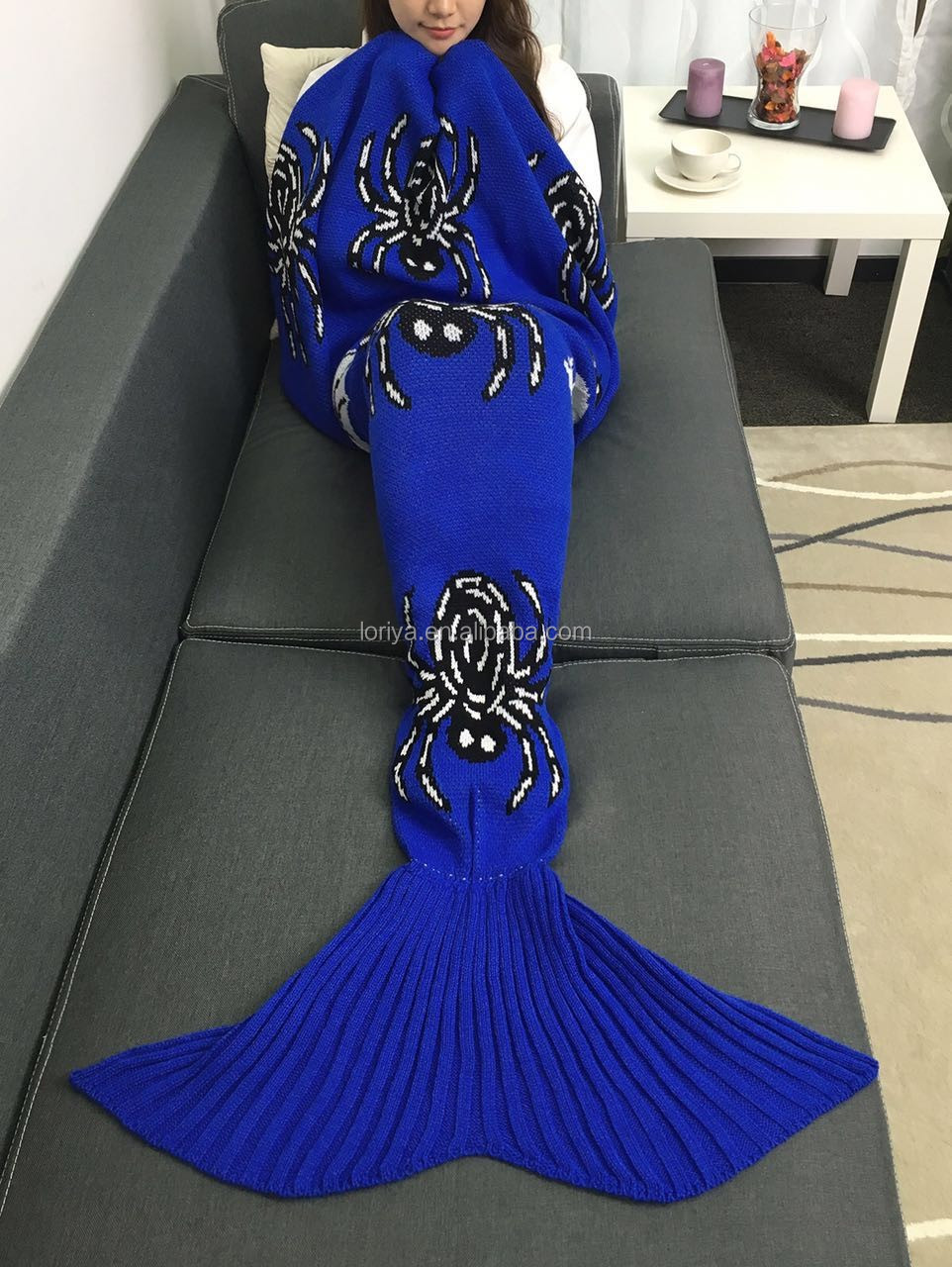 Wholesale 100% acrylic knitted mermaid tail blanket for adults