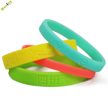 Cheap custom debossed single color silicone bracelets