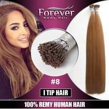 Forever Top quality 100% real human remy 1g/s double drawn italian keratin cheap i-tip stick hair wholesale