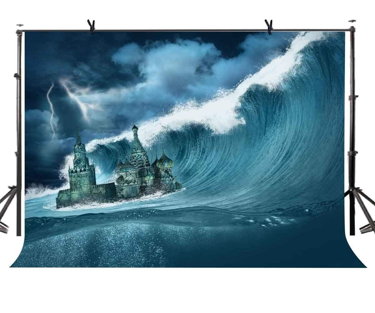 ERTIANANG 150x220cm Tsunami Backdrop Dreamy Tsunami Flooded Castle Photography Background and Disaster Theme Party Photography Backdrop