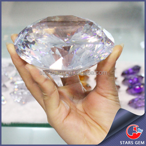 wholesale white round natural cut big cubic zirconia stone for sales