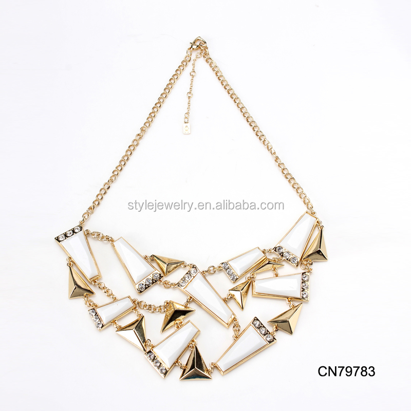 CN79783 new fashion gold triangle white stone layers chain statement necklace for women accessories