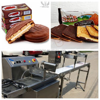Wholesale 15kg automatic chocolate cake donuts enrobing machine for sale