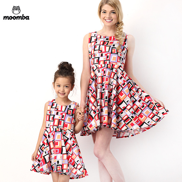 8da5df0d8d0 Get Quotations · 2015 New Dresses Cotton Print Fashion Full Family Matching Outfits  Mother Daughter Dresses Matching Mother Daughter