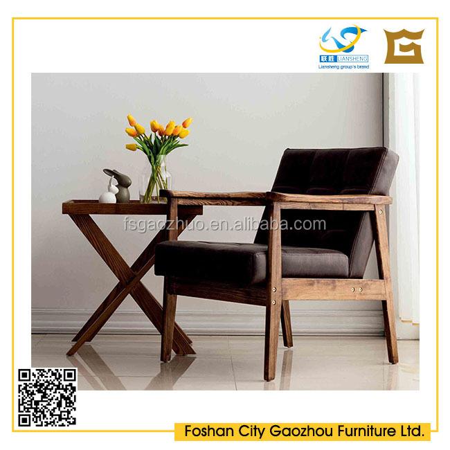 design en bois massif en cuir salon chaise avec haute densit mousse - Salon En Bois Massif Cuire