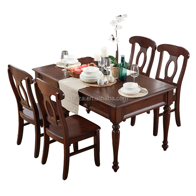 F40711A-1 New design modern elegant style four legs solid wood dining table