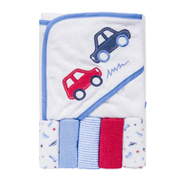 2018 latest boy style microfiber car pattern printed cotton baby hooded towel