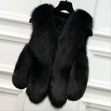 2017 Factory Wholesale Fox Natural Color Fake Fox Fur Women's Gilet / Faux Fox Fur Vest fake fur knitted mink scarves