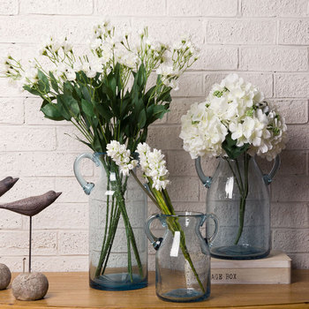 Factory Supply Blue Glass Flower Vase With Handles For Wedding