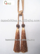 Decorative double braided cord tieback tassel, tie back