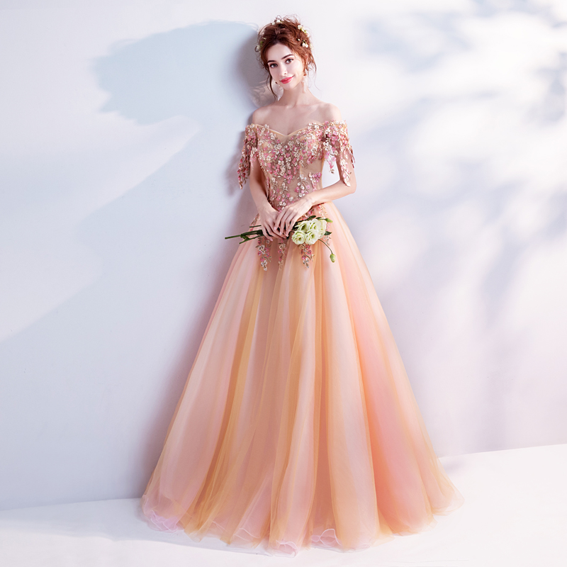 6291b2afdb HOT SALE] Walk Beside You Orange Prom Dresses Lace Applique Pearl ...