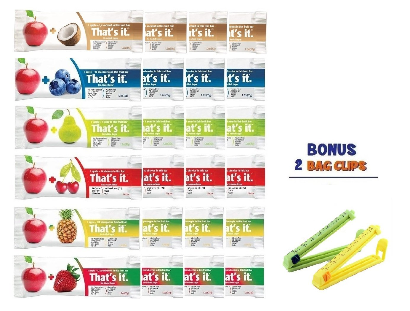 That's It Fruit Bars, Variety Pack , Pack of 24, (4 Coconut-NEW FLAVOR ,4 Cherry, 4 Blueberry, 4 Strawberry, 4 Pineapple , 4 Pear), BONUS!! 2 BAG CLIPS FREE