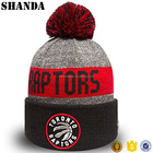 Custom Embroidery 100% Acrylic Sports Team Beanie Knit Bobble Hat