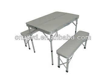 Aluminium table pliante de camping avec deux longues banc - Table de camping avec banc ...