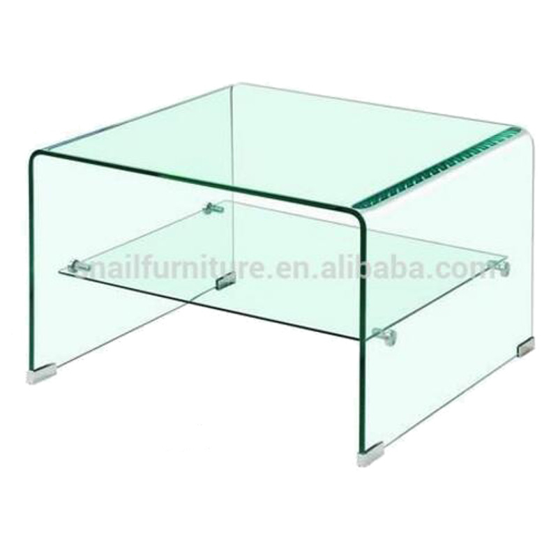Bent Glass Coffee Table · Modern Clear Bent Glass Coffee Table