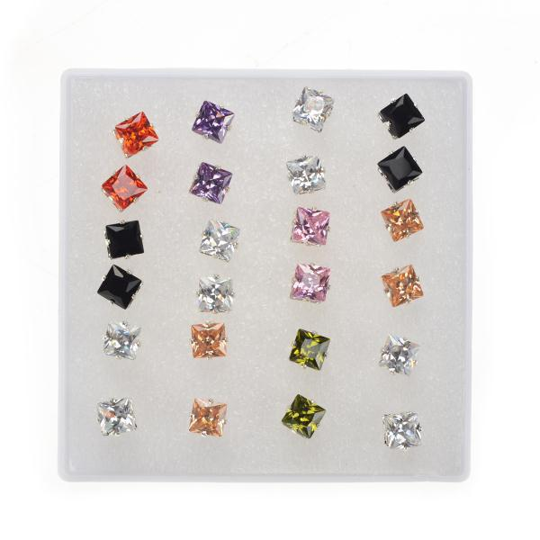 Mix Wholesale 72Pairs/lot Multicolors Crystal Small Stud Earrings for Women Men Small Crystal Heart Cube Shape Ear Stud Earrings