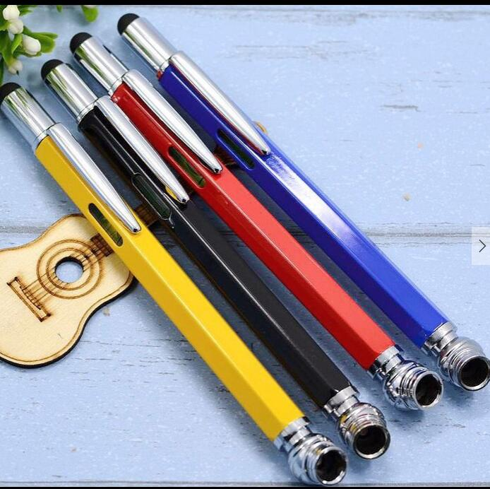 New Promotional Pocket 6 in 1 Multi Purpose Pen with Touch Screen Ruler Level Multi Head Screwdriver