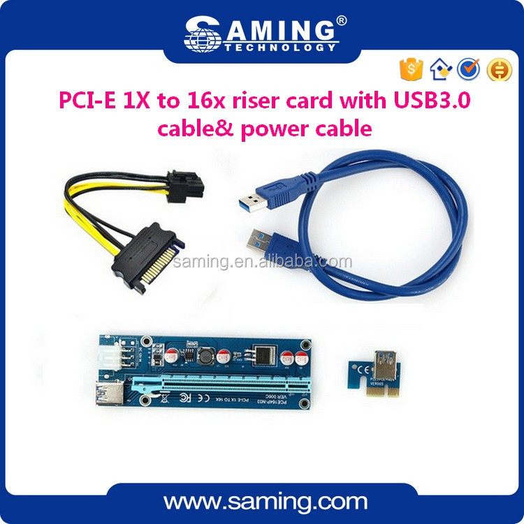 PCI-E 1x to 16x PCIe Riser Card with SATA to 6Pin DC-DC 12v power cable &USB3.0 60cm Cable