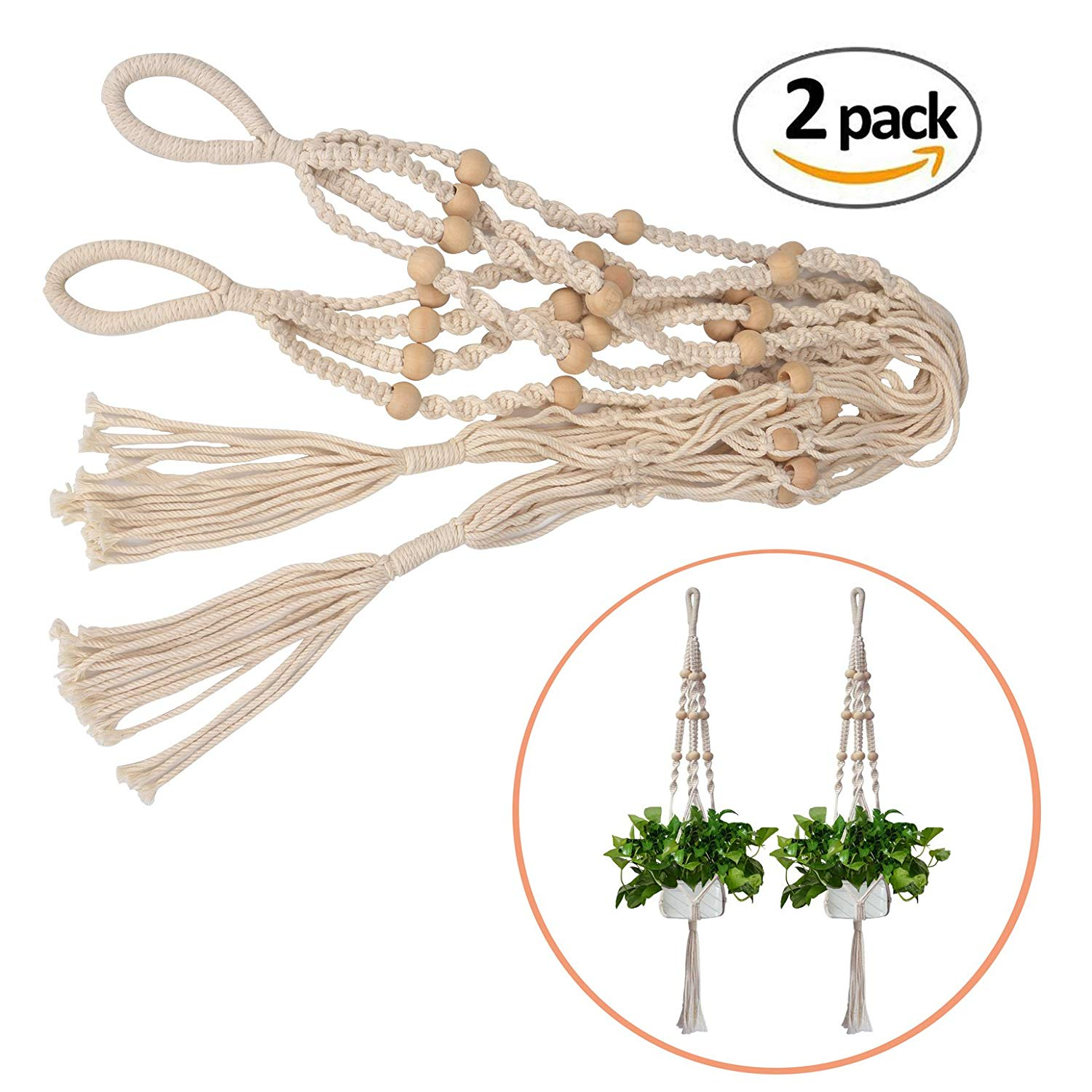 Jcoze Cotton Rope Plant Hangers Hanging Planter for Outdoor Indoor Wall Hanging Planter Holder 2 Pcs