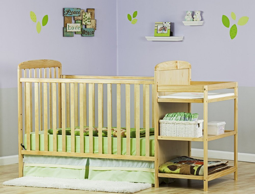 Hot Sale Bamboo 2 In 1 Full Size Crib And Bamboo Changing