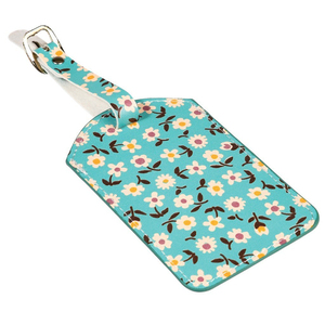 Custom PVC Leather Floral Pattern Plastic Luggage Tag