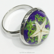 16mm adjustable starfish resin finger rings for children