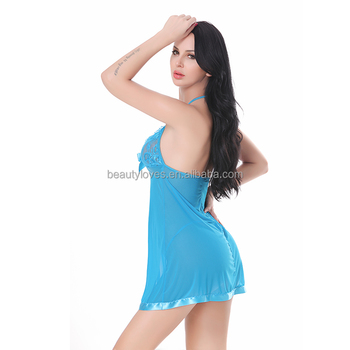 06b98dd3012 See Through Blue transparent Baby Doll Sexy Lingerie Soft Lace royal blue  plus size Babydoll