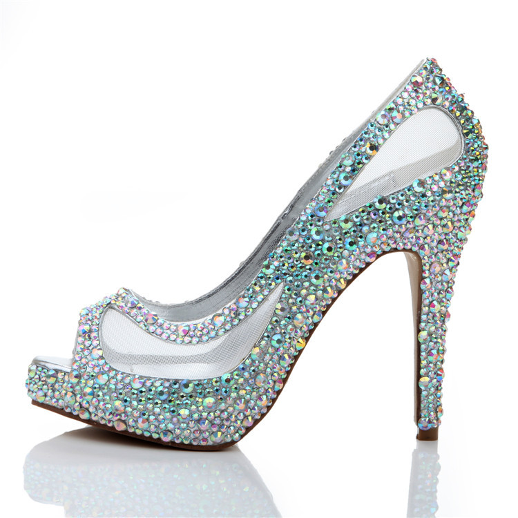 New Fashion Handmade Silver Crystal Wedding Shoes Peep Toe