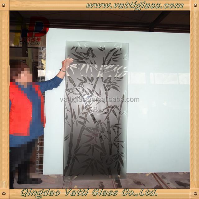 Frosted Glass Interior Doors Acid Etched Decorative Art Door