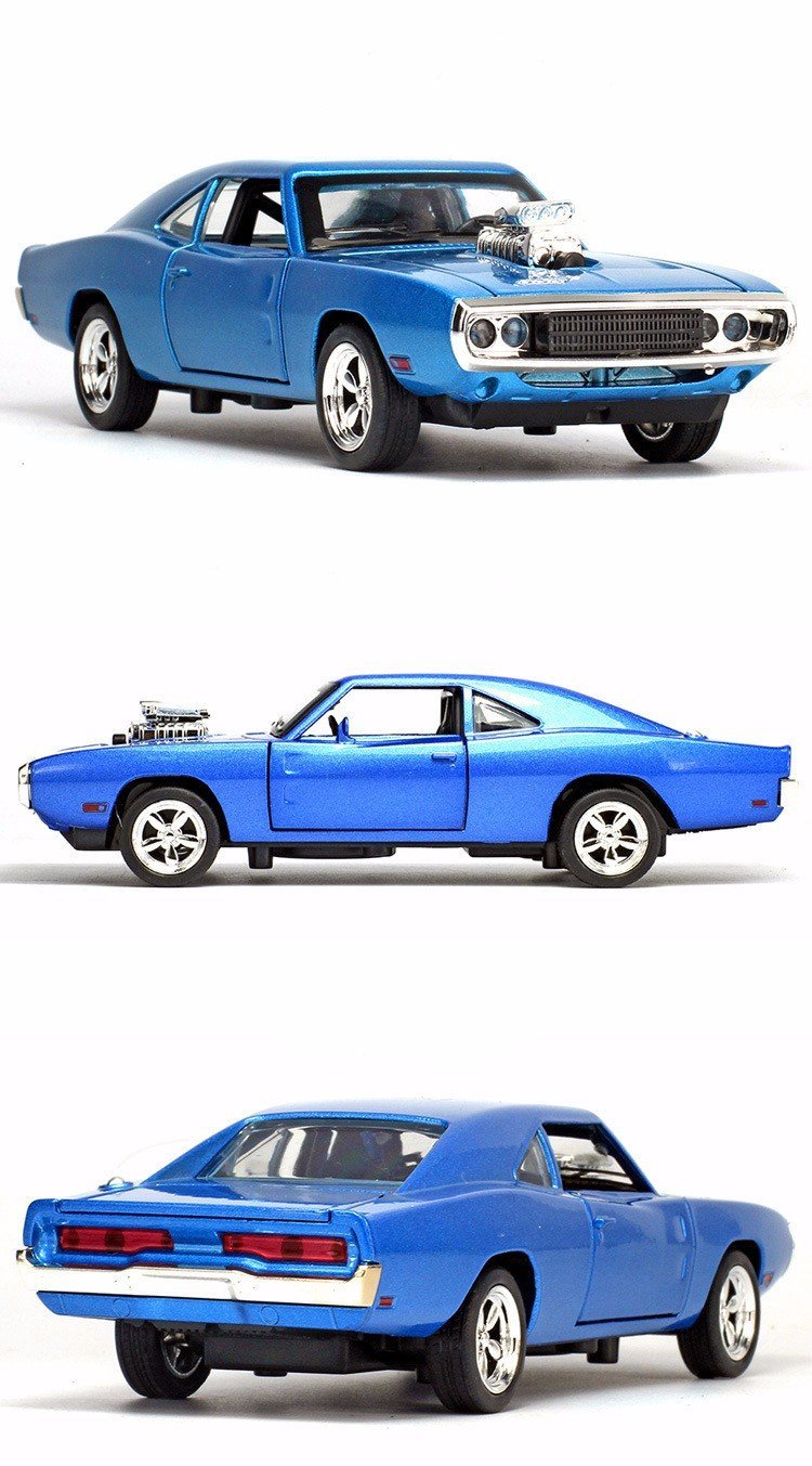 1:32 Alloy 1970 Dodge Chargers R/T Fast and Furious 7 Kids Toy Challenger Pull Back Sports Diecast Car Collection In Stock (Color: Blue)