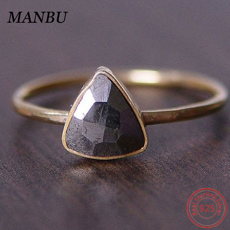 925 Sterling Silver 14K Gold Plated Single One CZ Stone Triangle Ring Designs for Women Men