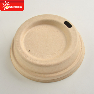 Yellow sugarcane pulp bagasse coffee cup lid