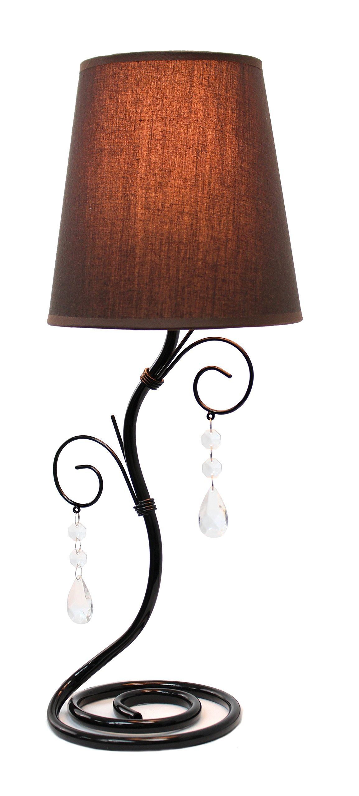 Simple Designs LT2010-BWN Twisted Vine Table Lamp with Fabric Shade and Hanging Beads, Brown