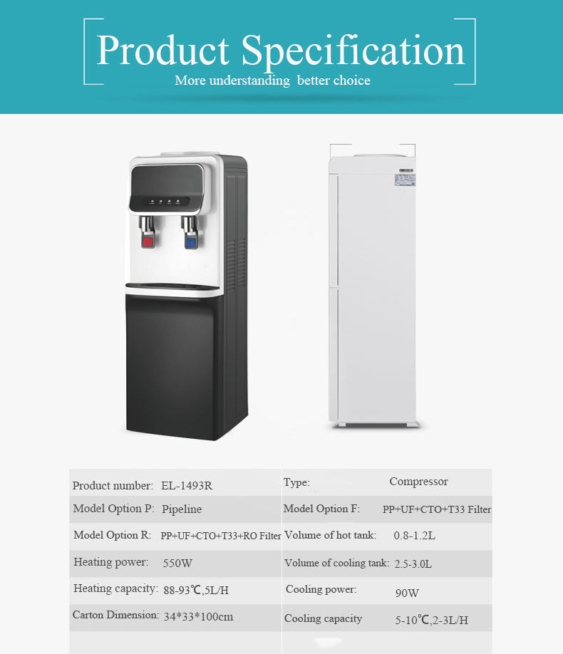 2017 automatic direct piping reverse osmosis hot cold water dispenser machine water filter dispenser with RO system