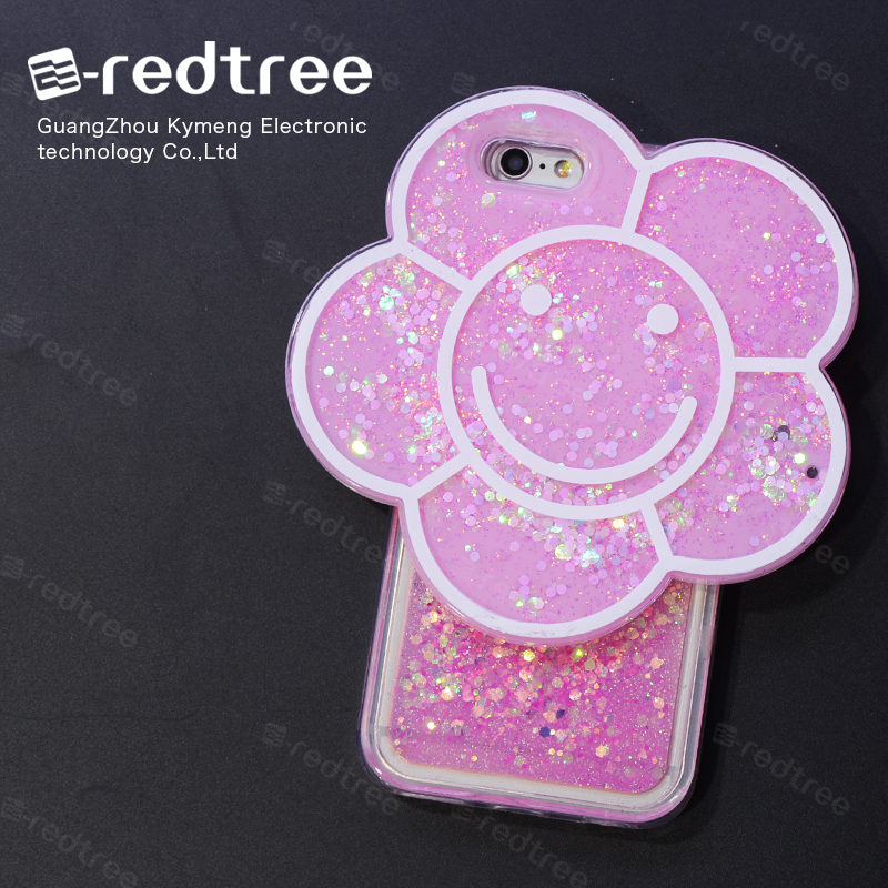 Eredtree Smiling Face Accessories Para Cellular Bling Glitter Star Liquid Flexible TPU Phone Case Funda for Huawei p8