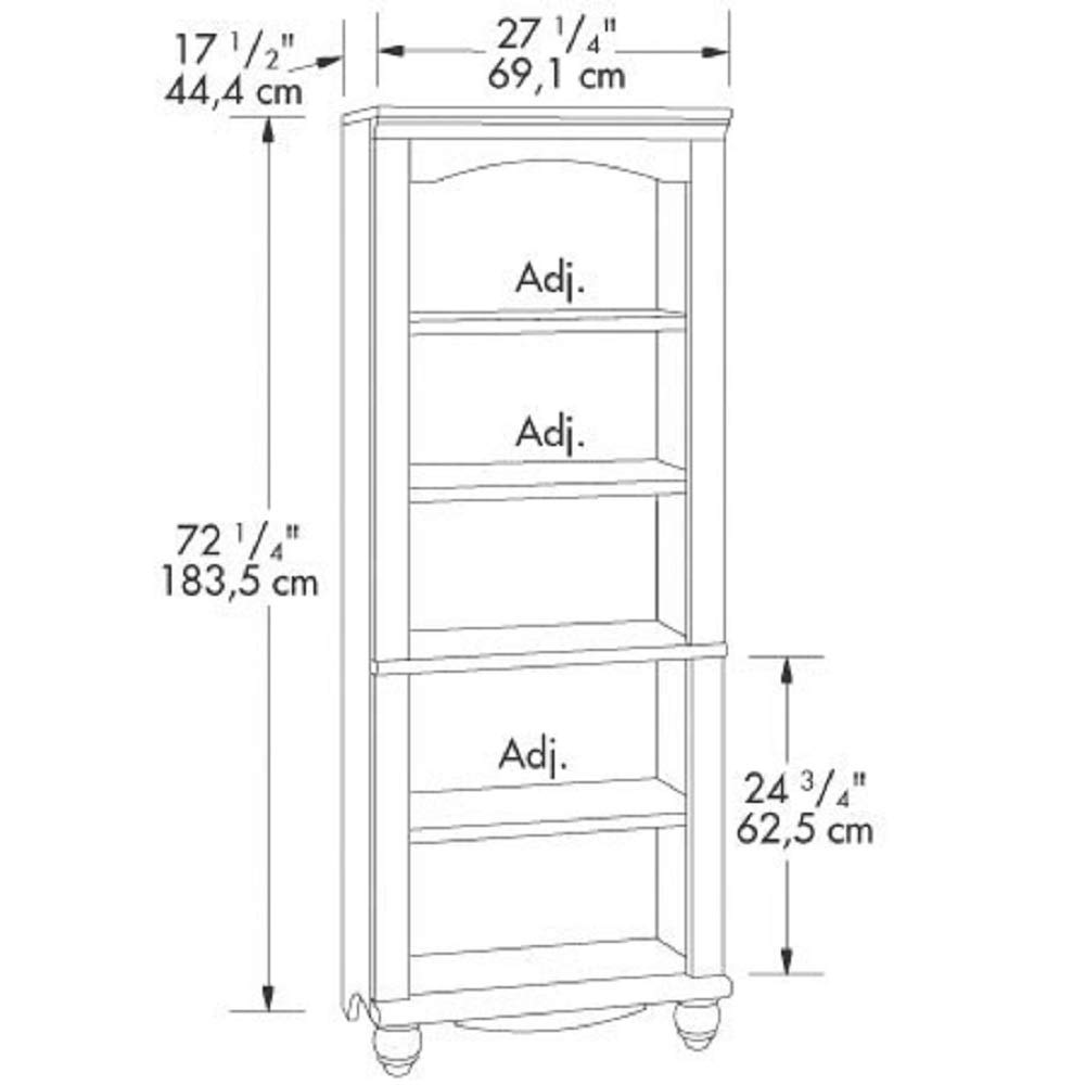 MyEasyShopping Elegant Display Shelf Bookcase with 5 Shelves in Antique White Wood Finish Adjustable Display Furniture
