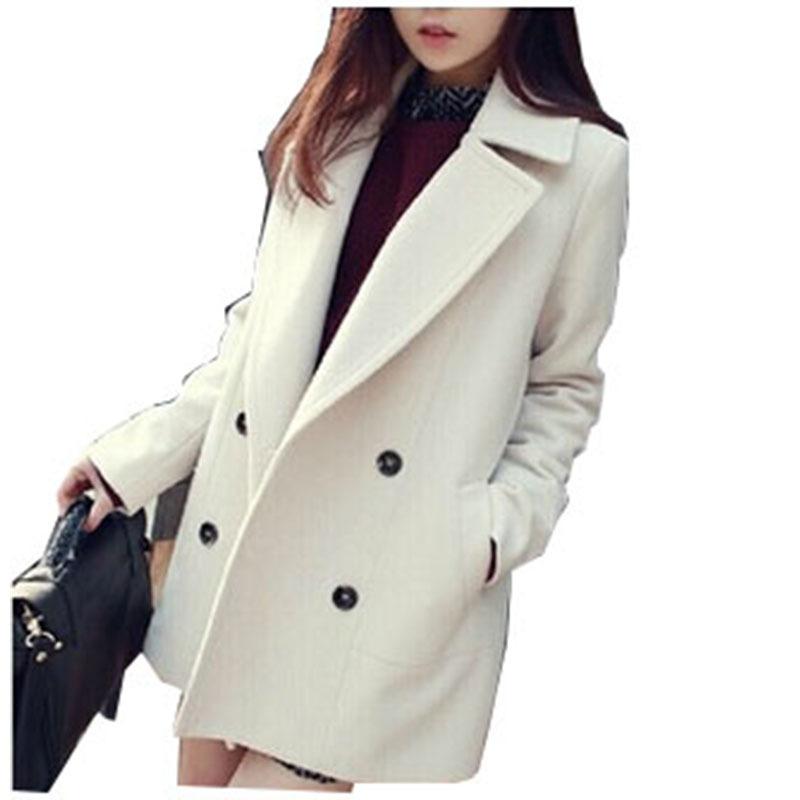 ec1cbe64ff Get Quotations · Women White Pea Coat Winter Medium Long Korean Fashion Double  Breasted Light Blue Wool Plus Size