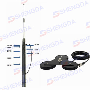 7-50MHz HF mobile antenna with magnetic base mount and UHF-male connector for vehicle ham and amateur radio car