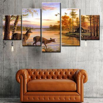 No Frame Modular Wall Paintings 5 Pieces Autumn Lake Animal Deer Modern Canvas Oil Painting For
