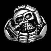 Tryme New 1PC Viking Skeleton Skull Biker Claws Rings 316L Stainless Steel Men Ring Finger Size 8-10 Punk Rock Wedding Jewelry